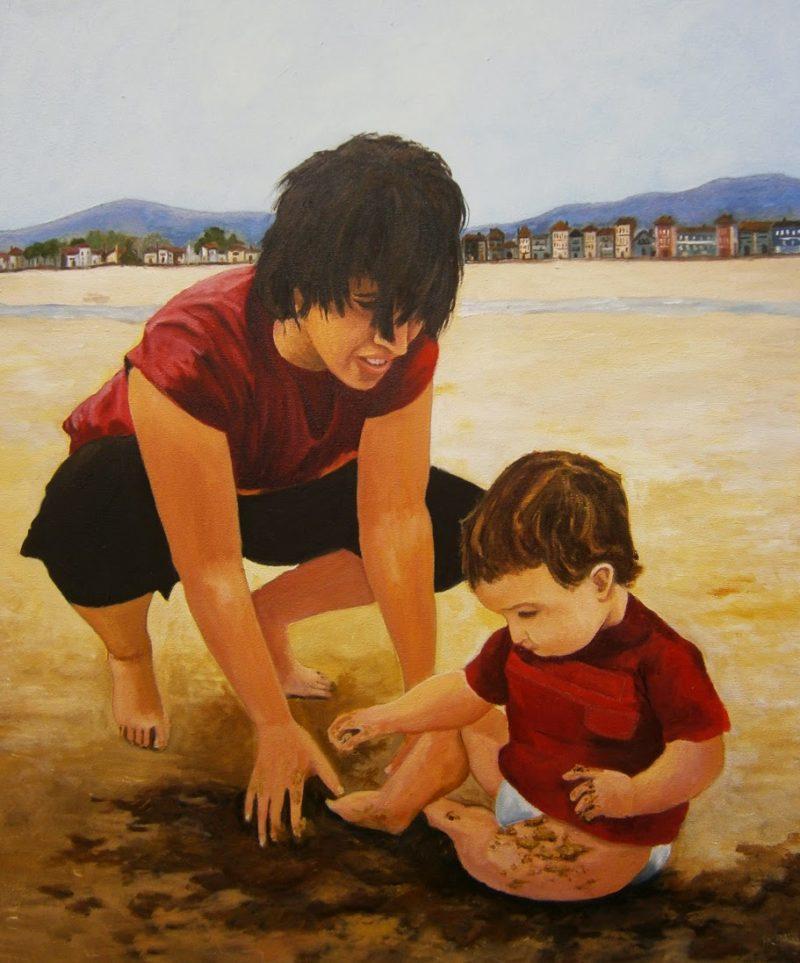 Oleo de Madre e Hijo